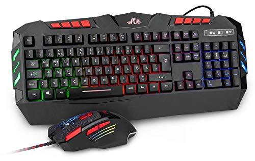 Rii RK900+ Gaming Tastatur und Maus Set - RGB LED...