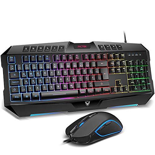 Gaming Tastatur und Maus, PICTEK Tastatur Maus Set...