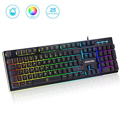 G010 Ergonomische RGB Gaming Tastatur wasserdicht LED...