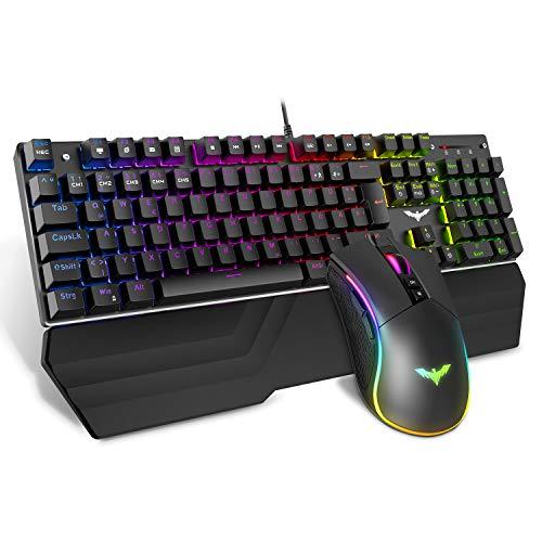 havit Mechanische Gaming Tastatur und Maus Set, RGB...