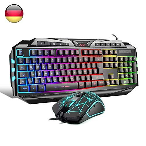 Gaming Tastatur mit Maus (DE Layout) 7 Tasten Gaming...