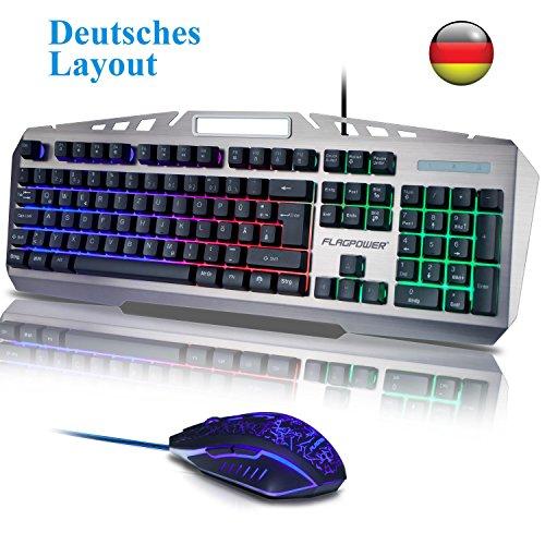 FLAGPOWER Gaming Tastatur und Maus Set Deutsch Layout,...