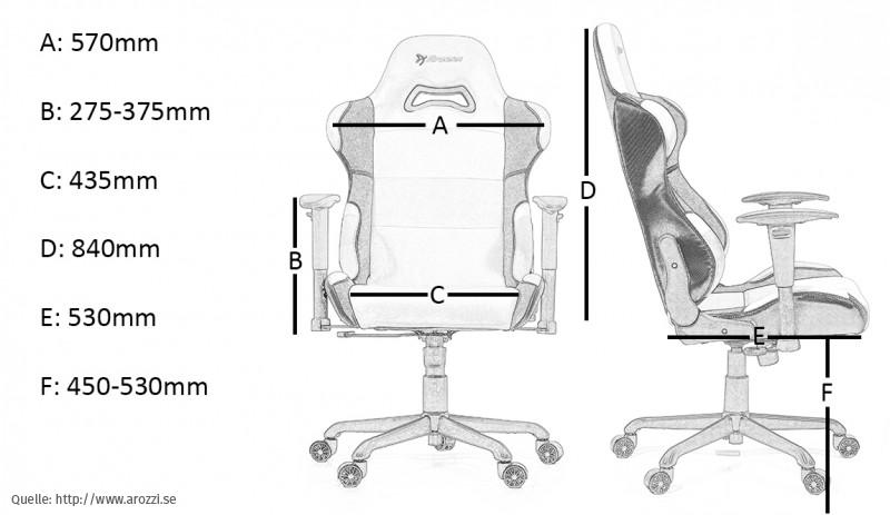 arozzi enzo gaming chair - massangaben